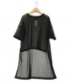 comme ca(コムサ)の古着「シフォンジャージー ビッグTシャツ」 ブラック