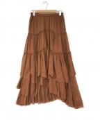 CASA FLINE(カーサフライン)の古着「コットンティアードスカート」|ブラウン