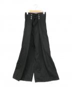 LIMI feu(リミフゥ)の古着「ウエストドロストワイドパンツ」 ブラック