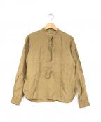 MARGARET HOWELL(マーガレットハウエル)の古着「リネンバンドカラーシャツ」 ベージュ