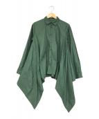 ()の古着「サイドデザインコットンシャツ」 グリーン