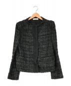 ()の古着「ノーカラーツイードジャケット」|ブラック