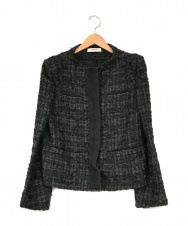 PRADA (プラダ) ノーカラーツイードジャケット ブラック サイズ:46
