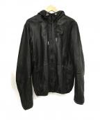 DIESEL()の古着「レザージップパーカー」|ブラック