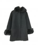 ARMANI EXCHANGE(アルマーニエクスチェンジ)の古着「フォックスファートリミングウールブレンドコート」|ブラック