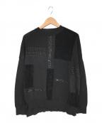 Gabardine K.T(ギャバシンケーティー)の古着「パッチワーク切替え ニットプルオーバー」 ブラック