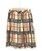BURBERRY LONDON()の古着「ノバチェックシルクスカート」|ブラウン