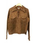 ()の古着「スウェードレザーPOシャツ」 ブラウン