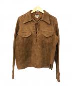 STEEPLECHASE(スティープルチェイス)の古着「スウェードレザーPOシャツ」|ブラウン