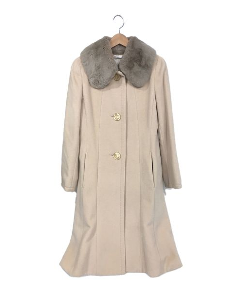 MaxMara(マックスマーラ)MaxMara (マックスマーラ) アンゴラ混ファー付コート ベージュ サイズ:34の古着・服飾アイテム