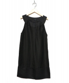 ANTEPRIMA(アンテプリマ)の古着「リネン混ノースリーブワンピース」|ブラック