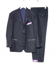 COMME des GARCONS HOMME PLUS(コムデギャルソンオムプリュス)の古着「80Sフラワー切替ウールセットアップ」|ブラック