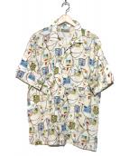 PAPAS(パパス)の古着「総柄アロハシャツ」|ホワイト