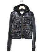 ENCHANTEMENT...?(アンシャントマン)の古着「フード付ライダースジャケット」|ブラック