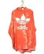 adidas(アディダス)の古着「TIE DYEトレフォイルパーカー」 オレンジ