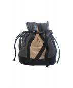 GIANNI NOTARO(ジャンニ ノターロ)の古着「レザー巾着ショルダーバッグ」|ベージュ