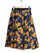 KUMIKYOKU(クミキョク)の古着「フラワープリントスカート」|オレンジ×ネイビー