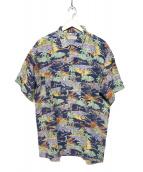PAPAS(パパス)の古着「リネンアロハシャツ」|ネイビー