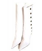 DOLCE & GABBANA(ドルチェ&ガッバーナ)の古着「ロングレザーパンプス」|ホワイト