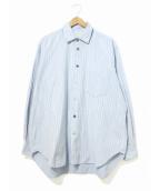 beauty beast(ビューティービースト)の古着「オーバーサイズストライプシャツ」|スカイブルー
