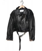 LE CIEL BLEU(ルシェルブルー)の古着「ラムレザーライダースジャケット」|ブラック