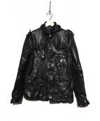 NEIL BARRETT(ニールバレット)の古着「シワ加工レザージャケット」|ブラック