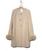 LAISSE PASSE(レッセパッセ)の古着「ノーカラーコート」|ベージュ