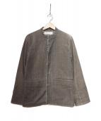 NAISSANCE(ネサーンス)の古着「ノーカラーコーデュロイジャケット」|ブラウン