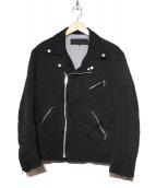 COMME des GARCONS HOMME(コムデギャルソンオム)の古着「ポリ縮絨ライダースジャケット」|ブラック