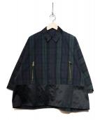 Drawer(ドゥロワー)の古着「ブラックウォッチ切替コート」|グリーン