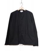 MANUAL ALPHABET(マニュアルアルファベット)の古着「ノーカラーシャツブルゾン」|ブラック