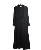 CELINE(セリーヌ)の古着「ジャガードシルクシャツワンピース」|ブラック
