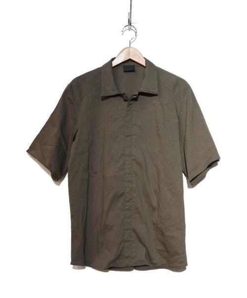 山内(ヤマウチ)山内 (ヤマウチ) 塩縮加工SSリネンシャツ カーキ サイズ:3の古着・服飾アイテム