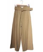 Ameri VINTAGE(アメリビンテージ)の古着「ベルト付ワイドパンツ」|ベージュ