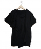 B Yohji Yamamoto(ビーヨウジヤマモト)の古着「三重半袖クロ スリーレイヤードTシャツ」 ブラック