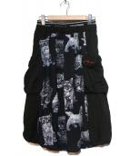 FRAPBOIS(フラボア)の古着「キャットプリントスカート」|ブラック