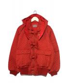 PINK HOUSE(ピンクハウス)の古着「【古着】フーデッドMA-1ジャケット」|レッド