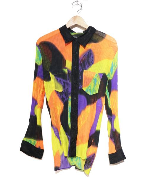 ISSEY MIYAKE(イッセイミヤケ)ISSEY MIYAKE (イッセイミヤケ) 総柄プリーツシャツ マルチカラー サイズ:Lの古着・服飾アイテム