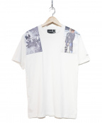 FRED PERRY()の古着「white shoulder print t-shirt」|ホワイト