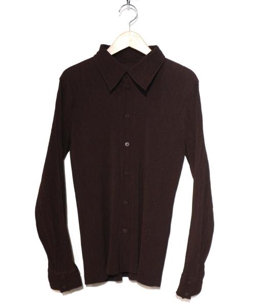 ISSEY MIYAKE(イッセイミヤケ)ISSEY MIYAKE (イッセイミヤケ) プリーツシャツ ブラウン サイズ:Mの古着・服飾アイテム