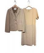 HANAE MORI(ハナエモリ)の古着「ボーダーセットアップ」|ホワイト×ベージュ