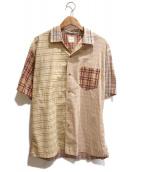 ()の古着「[古着]クレイジーパターン切替チェックシャツ」|ベージュ