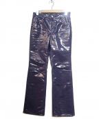 LITTLEBIG(リトルビッグ)の古着「PVC加工フレアパンツ」|ネイビー