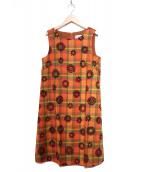 Jocomomola(ホコモモラ)の古着「フロッキーワンピース」 ブラウン
