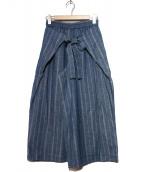 Jocomomola(ホコモモラ)の古着「ベルト付ワイドパンツ」 ネイビー
