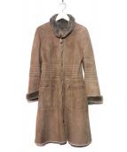 EMPORIO ARMANI(エンポリオアルマーニ)の古着「ムートンバイカーコート」|ブラウン