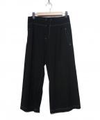 Y's YOHJI YAMAMOTO(ワイズ ヨウジヤマモト)の古着「カラーステッチギャバウールワイドパンツ」 ブラック