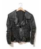 ANNARITA N(アンナリタエンネ)の古着「ギャザーシャーリングレザージャケット」 ブラック