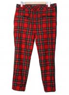 KARL LAGERFELD(カールラガーフェルド)の古着「裾ジップサイドラインチェックパンツ」|レッド