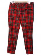 Karl Lagerfeld(カール ラガーフェルド)の古着「裾ジップサイドラインチェックパンツ」|レッド